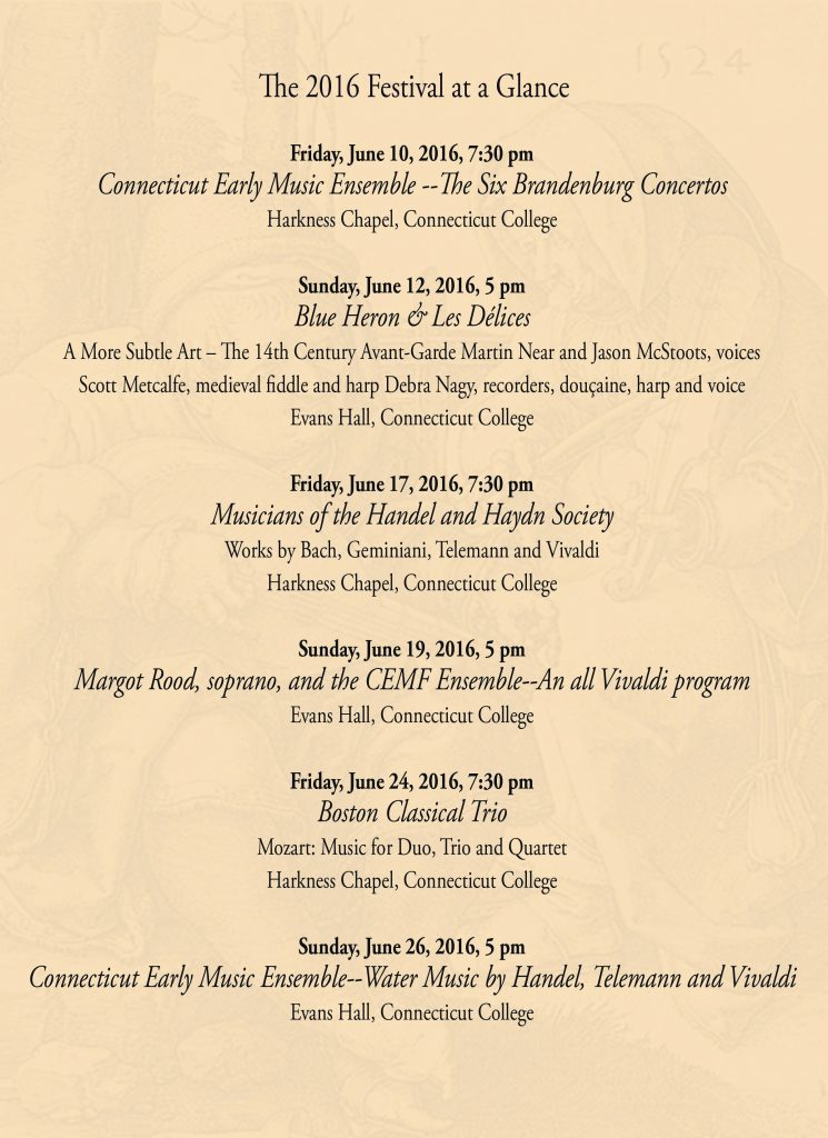 CT Early Music schedule